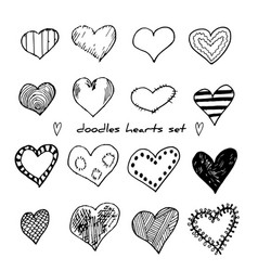 hand-drawn doodle hearts set isolated on white vector image