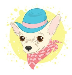 Hand drawn hipster dog for cards t-shirt print vector