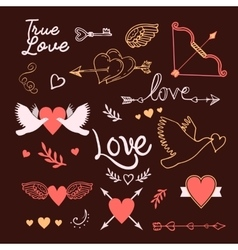 Hand-lettered vintage st valentines card elements vector