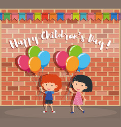 Happy childrens day poster with boy and girl on vector