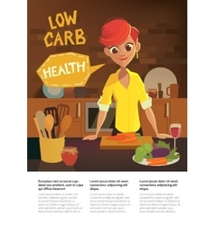 healthy food cartoon woman cooking in modern vector image