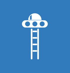 Icon flying saucer and ladder vector