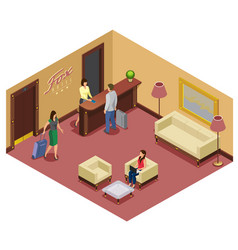 Isometric hotel reception template vector