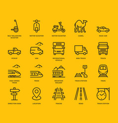 Land transport icons set vector