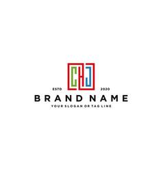 Letter chj square colorful logo design vector