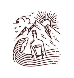 letter in bottle line vector image