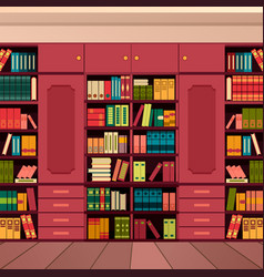 Library bookshelves wall vector