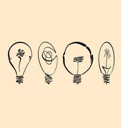 light bulb image hand drawn lightbulb set vector image