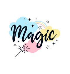 magical icons print design with slogan vector image