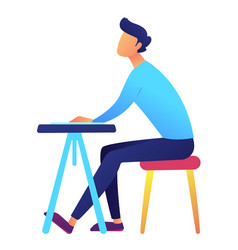 male student sitting at desk vector image