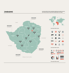 map zimbabwe high detailed country map vector image