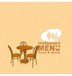 menu template with painted restaurant table and vector image
