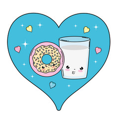 milk glass with donut and heart kawaii vector image