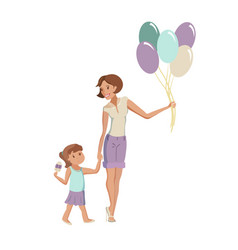 Mother and daughter walking at the park vector