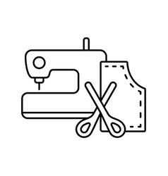 Needlework icon cartoon sewing machine scissors vector