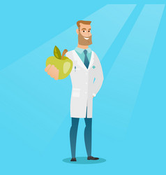 Nutritionist offering fresh apple vector