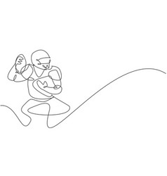 one continuous line drawing young attractive vector image