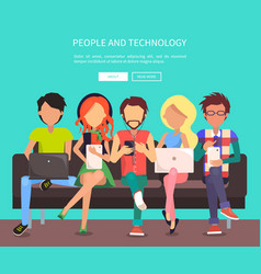 People and technology banner vector