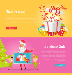 Poster of best presents with love and xmas sale vector