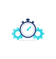 productivity icon with stopwatch and gears vector image