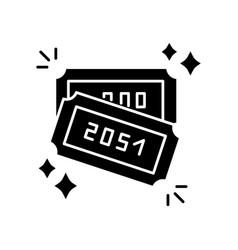 Raffle black glyph icon lottery winner ticket vector