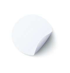 Round blank white paper sticker with peel off vector
