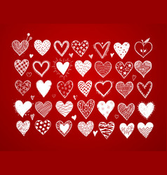 set hand drawn white doodle sketch hearts on vector image