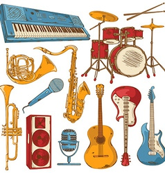 set isolated colorful musical instruments vector image
