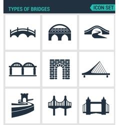 Set of modern icons Types of bridges vector