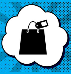 shopping bag sign with tag black icon in vector image