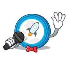 Singing stellar coin character cartoon vector
