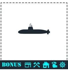 Submarine icon flat vector
