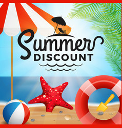 Summer discount typography and holiday background vector