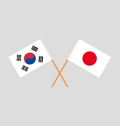 The korean and japanese flags vector