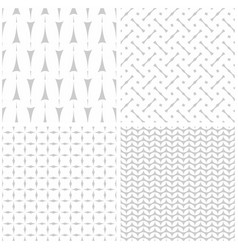 Tile pattern set with print on grey background vector