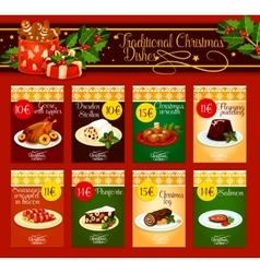 Traditional christmas dishes for menu design vector