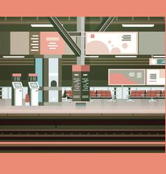 Train station interior empty platform vector