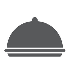 Tray glyph icon cover and dish platter sign vector