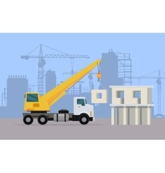 Truck Crane on Background of Building Area vector