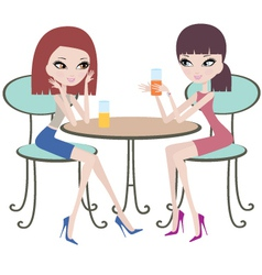 Two friends in cafe vector