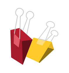 two red and yellow paperclip clips suitable vector image