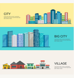 urban and village landscape big modern city vector image