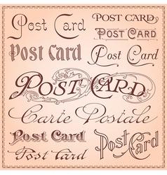 Vintage postcard lettering vector image