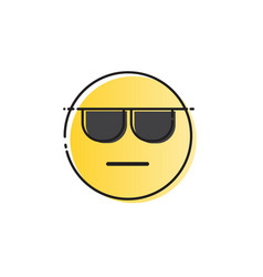 Yellow smiling cartoon face wear sunglasses people vector