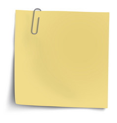yellow sticky note with metallic paper clip vector image