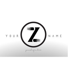 Z logo letter with digital pixel tech design vector