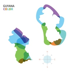 Abstract color map of Guyana vector image vector image