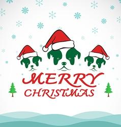 Dog merry christmas vector image vector image