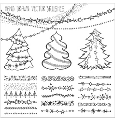 Holiday brushesChristmas doodles setBlack vector image