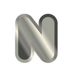 letter n steel font metal alphabet sign iron abc vector image vector image